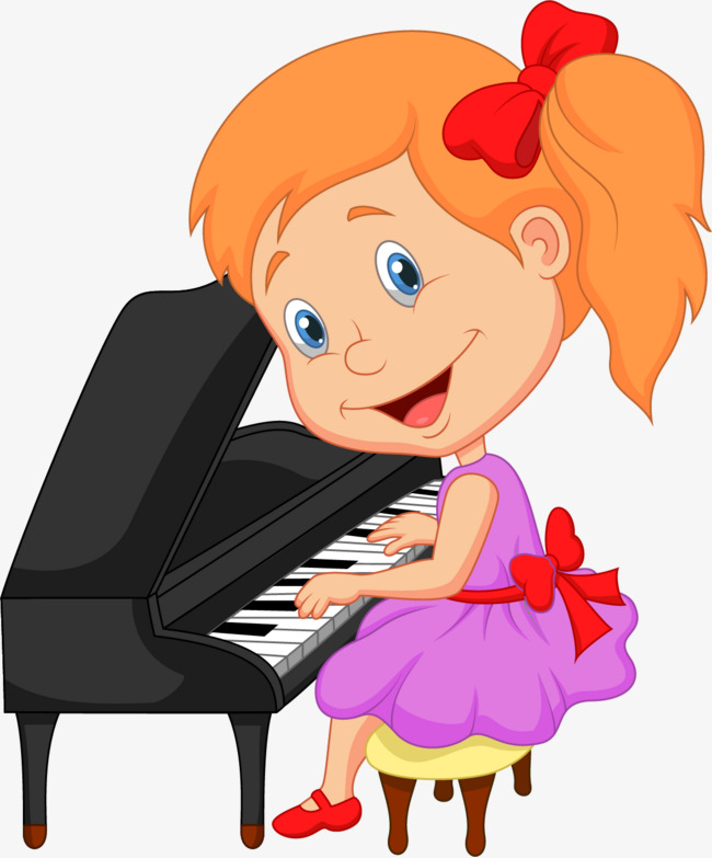 矢量手绘弹钢琴