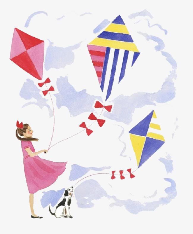 卡通女孩放风筝素材图片免费下载 高清卡通手绘png 千库网 图片编号图片