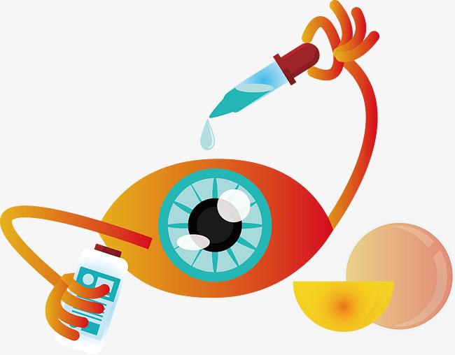 眼睛 药水 滴管 瓶子 卡通画             此素材是90设计网官方设计图片
