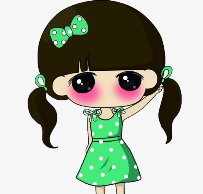 穿着绿色长裙的可爱卡通小女孩图片
