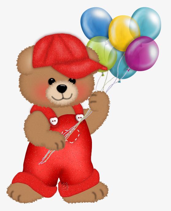 手绘小熊玩气球