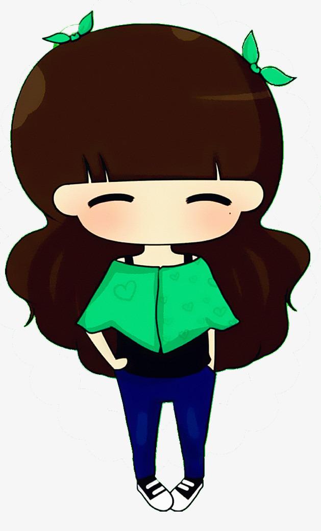 手绘动漫素材免费下载,本次戴着绿色蝴蝶结微笑的可爱小女孩作品为