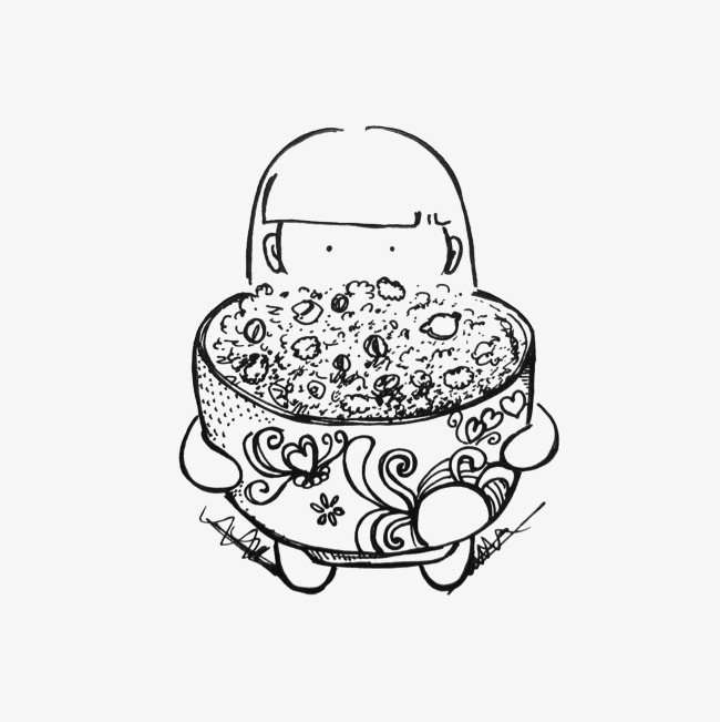 手绘腊八粥和少女矢量