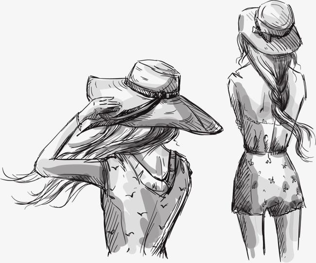 矢量手绘线描女孩矢量手绘线描女孩背影-矢量手绘线描女孩素材图片