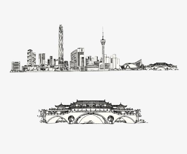 成都灰黑色代表手绘建筑png素材-90设计