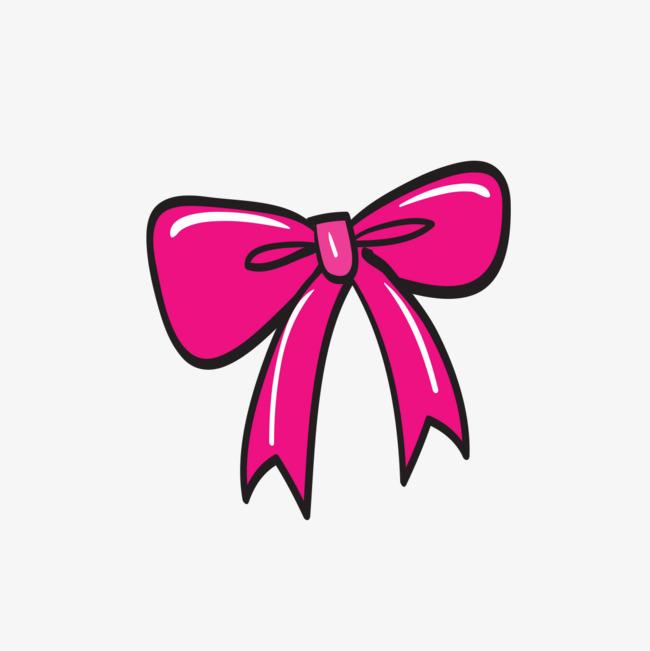 粉色蝴蝶结的卡通造型图片