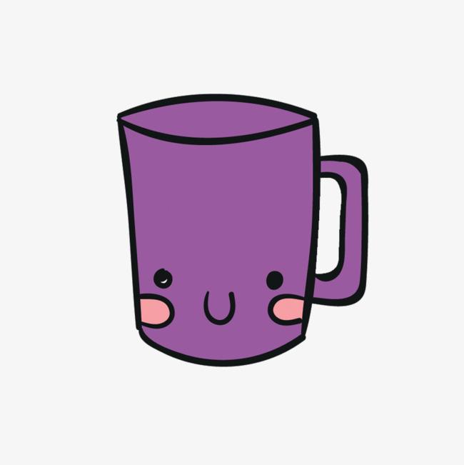 矢量手绘紫色杯子素材