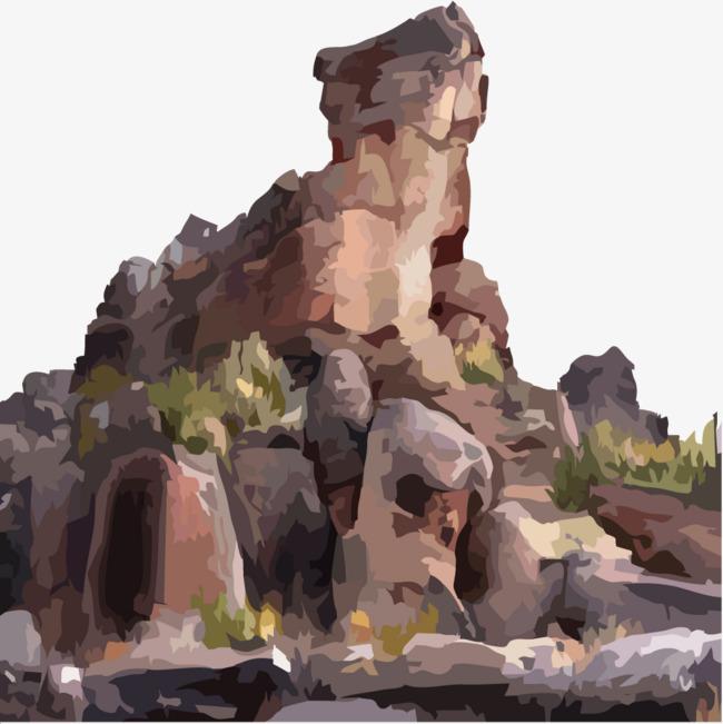 创意手绘石头山峰