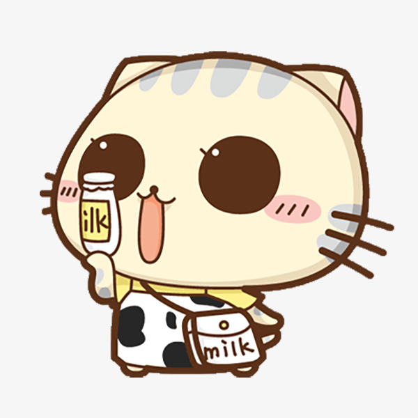 拿着牛奶的卡通可爱小猫咪