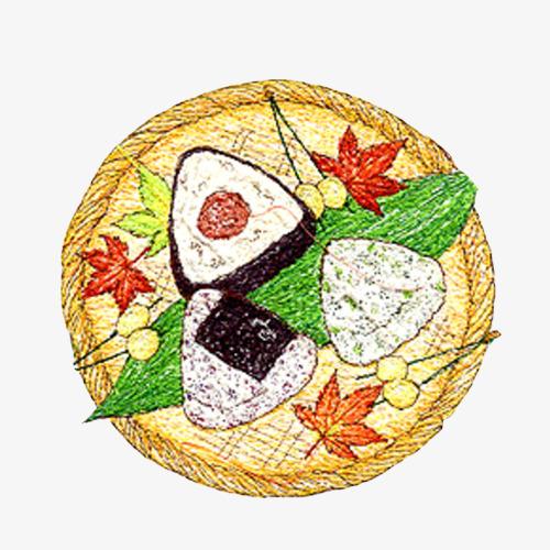 紫菜包饭手绘画素材图片