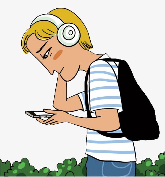 手绘 卡通 低头族 听歌 卡能人物png素材 听歌的人手绘 卡通 低头族