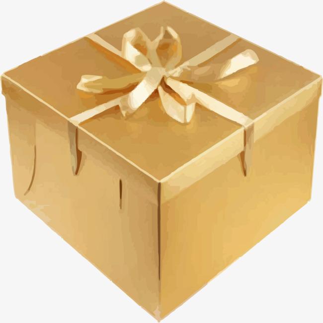 金色彩带礼物盒png素材-90设计