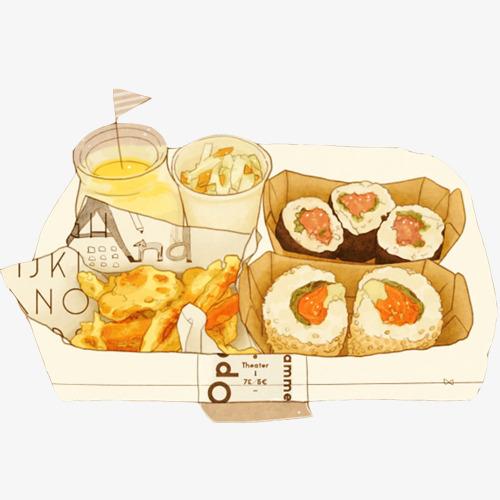 美食 寿司 手绘 插画 动漫