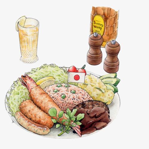 日式午餐手绘画素材图片