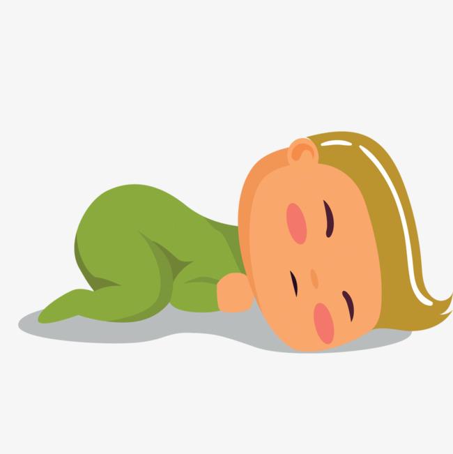 矢量趴着睡觉的婴儿素材