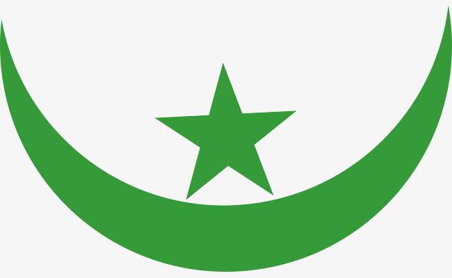 矢量绿色月亮星星图案图片