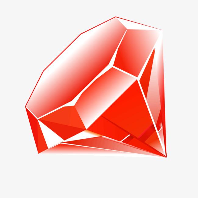 红色质感立体水晶钻石png素材-90设计