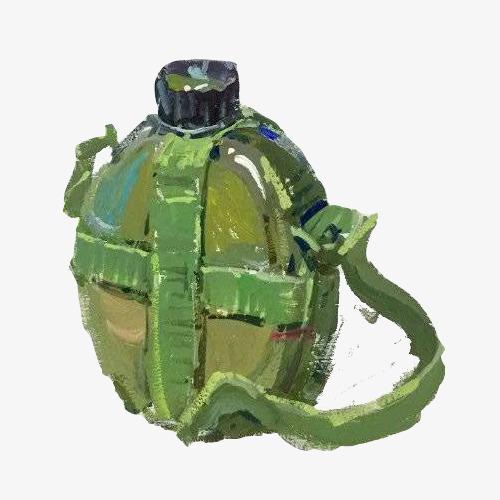 行军水壶手绘画素材图片