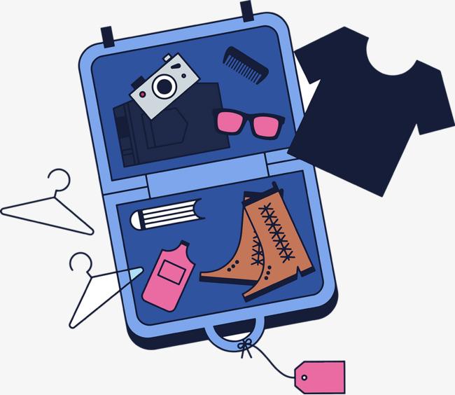 可爱旅行箱手绘矢量图【高清装饰元素png素材】-90设计