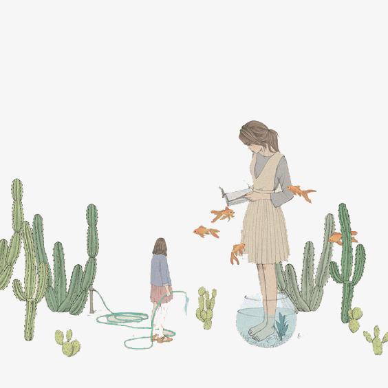 水彩手绘女孩与仙人掌素材
