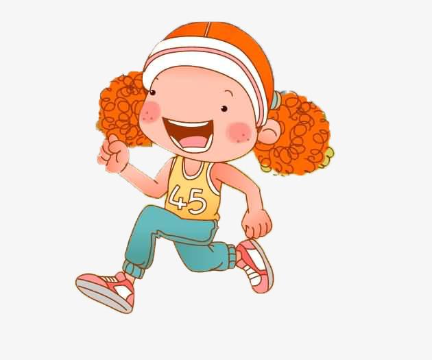 正在跑步的卡通卷发女孩图片