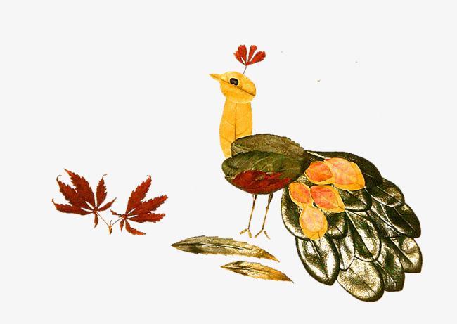 树叶拼贴动物图片