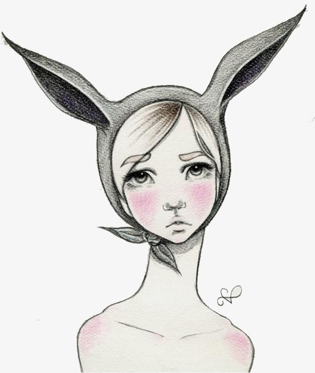 手绘戴长耳朵头巾的女孩