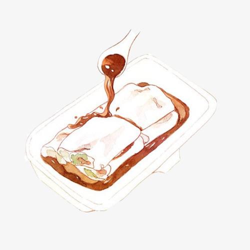 广东肠粉手绘画素材图片