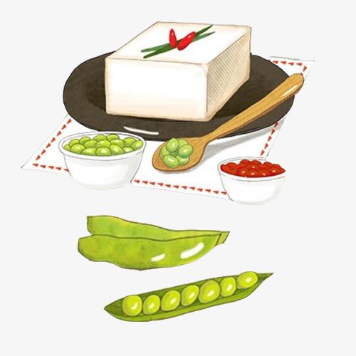 青豆腐手绘画素材图片