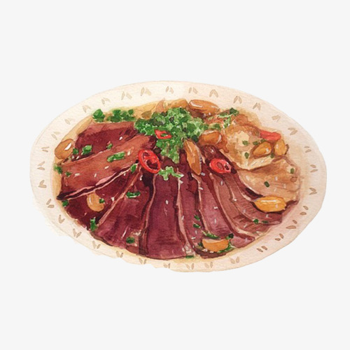 牛肉片麻辣手绘画素材图片