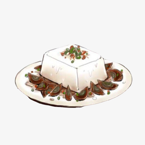 皮蛋豆腐手绘画素材图片菜品小吃皮蛋豆腐白色豆腐特色菜手绘美食