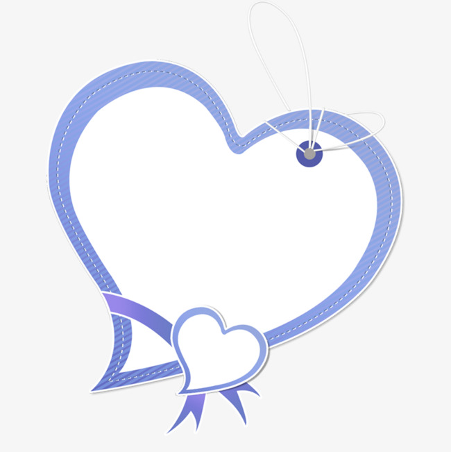 蓝色爱心对话框免抠素材