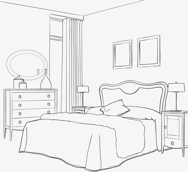矢量手绘卧室 卧室素描图片