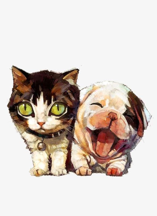 手绘动物猫狗