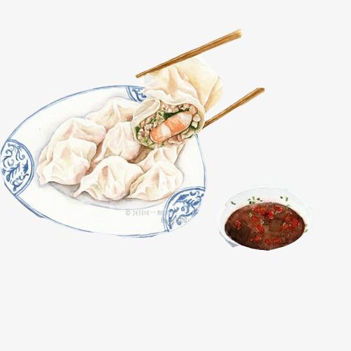 手工水饺手绘画素材图片