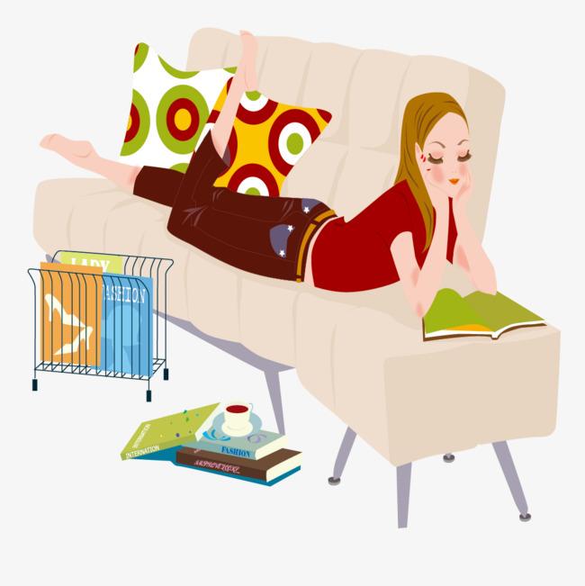 趴在沙发上看书的女人素材图片免费下载_高清