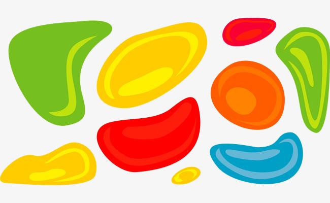 矢量手绘彩色椭圆