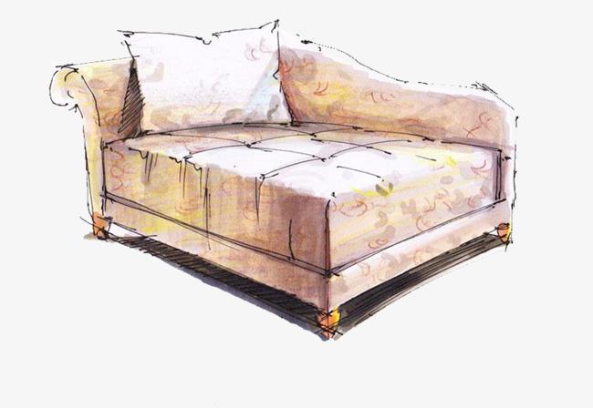 沙发彩铅手绘