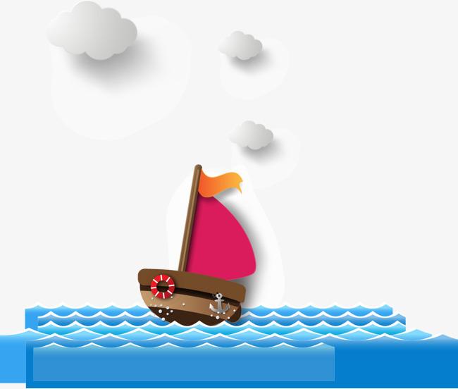 卡通背景_卡通小船png素材-90设计图片