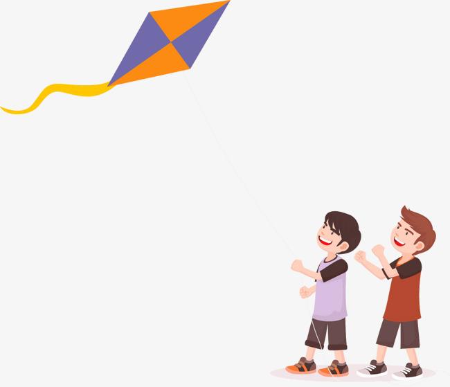 放风筝的男孩矢量图