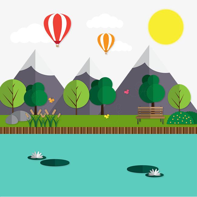 矢量扁平树林山丘池塘风景素材图片免费下载 高清图片pngpsd 千库网 图片编号6861503