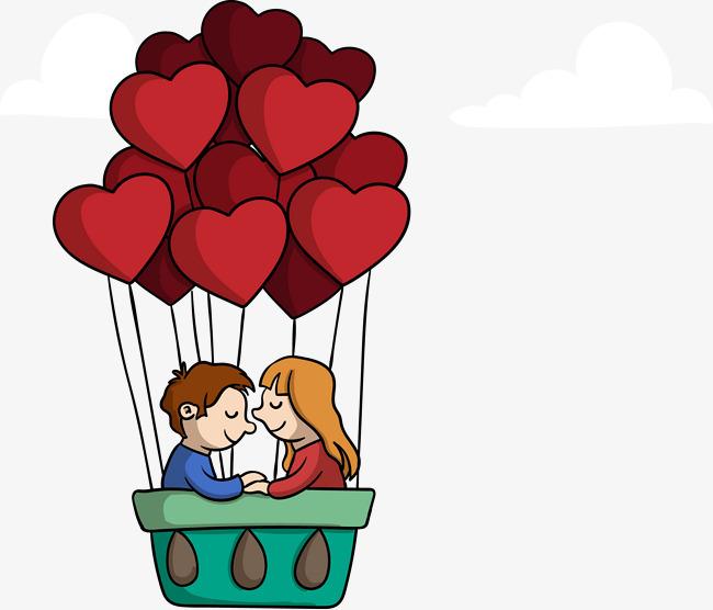 矢量手绘心形热气球