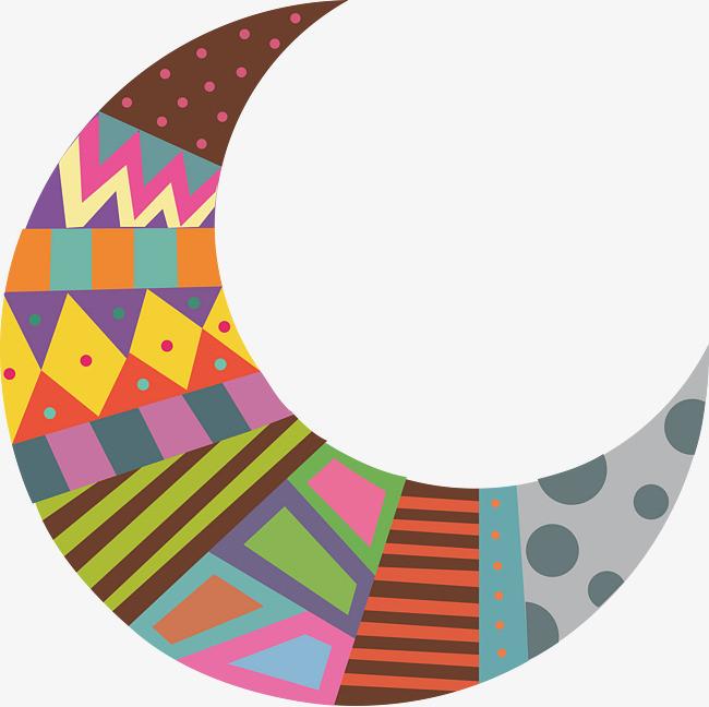 彩色手绘月亮矢量