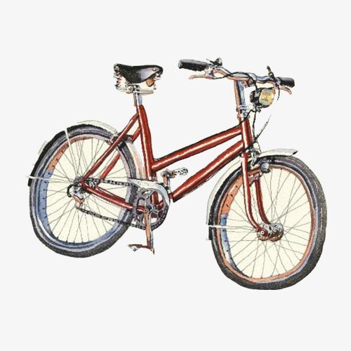 自自行车手绘画素材图片