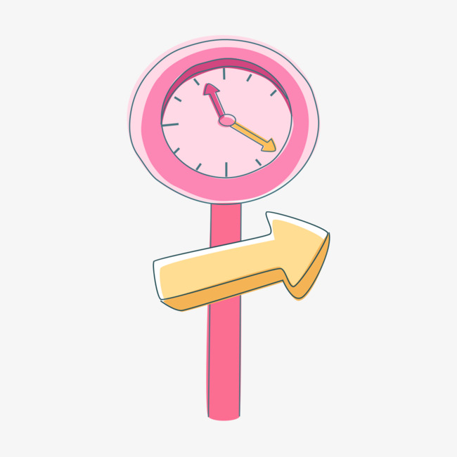 手绘粉色时钟