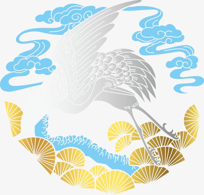古风蓝云金扇白鹤图片