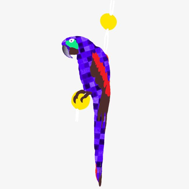 手绘蓝色鹦鹉