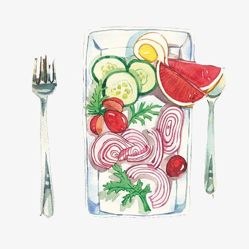蔬菜水果沙拉手绘画素材图片