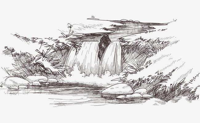 手绘线条瀑布