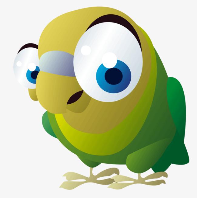 矢量大眼绿色鹦鹉八哥图片